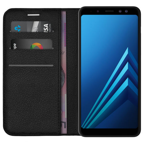 Leather Wallet Card Holder Case for Samsung Galaxy A8 (2018) - Black